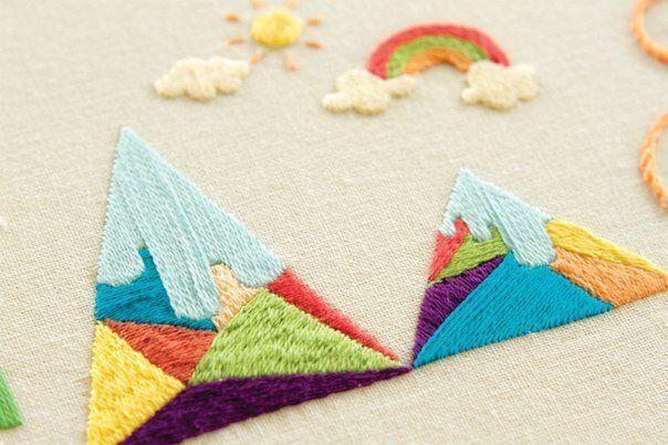 Геометрическая вышивка для детского творчества