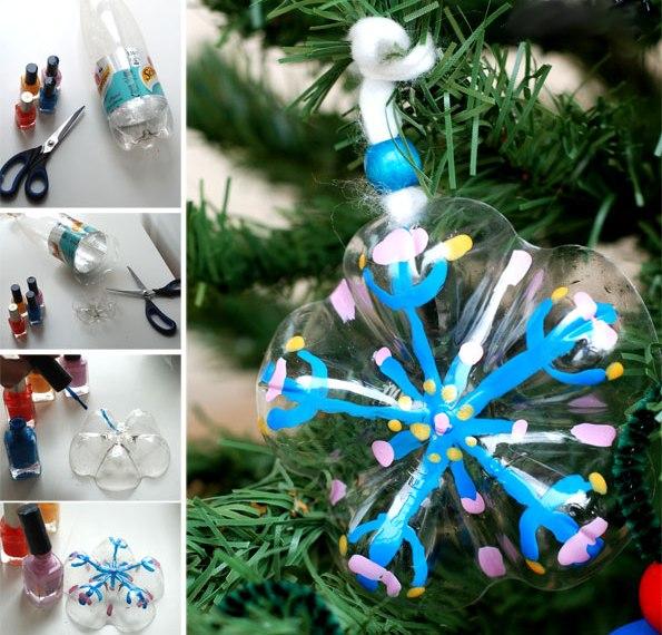 Ёлочные игрушки из донышек пластиковых бутылок 1