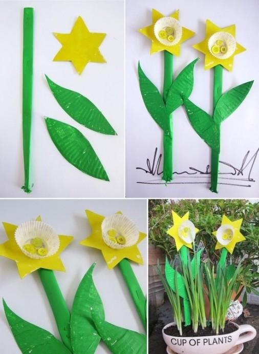 Нарциссы из цветной бумаги, бумажных формочек для кексов и пуговиц