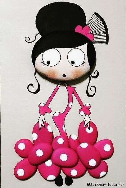 Яркие куколки из гальки: идеи для детского творчества