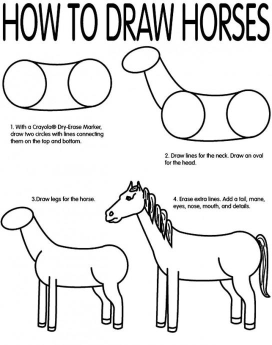 Учимся рисовать лошадок