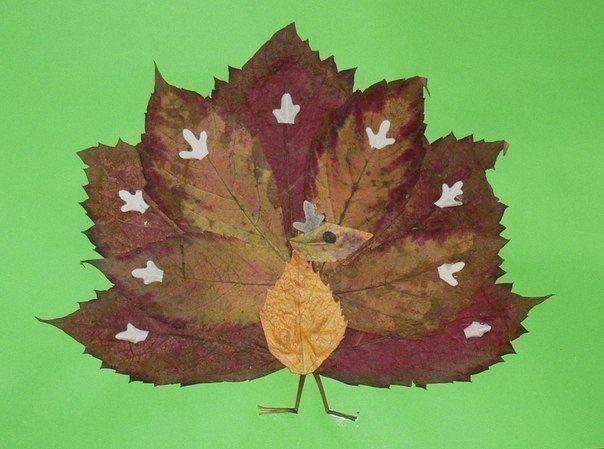 Аппликации из осенних желтых листьев