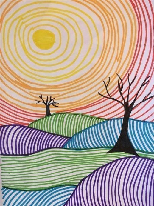 Арт-рисунки линиями: идеи для детского творчества