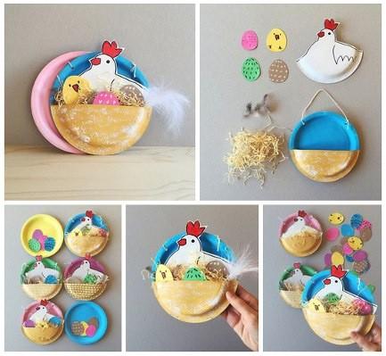 Гнездо из одноразовых тарелок