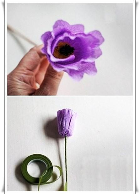 Разноцветный букетик тюльпанов из цветной гофрированной бумаги 6
