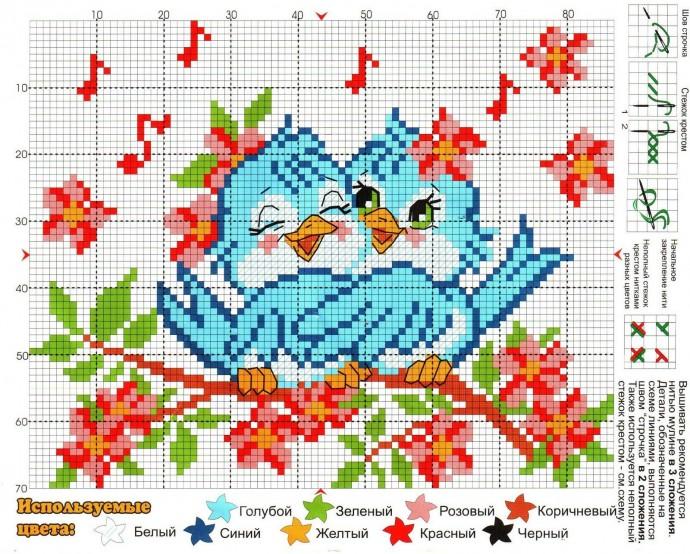 Схемы вышивки птичек с детьми 0