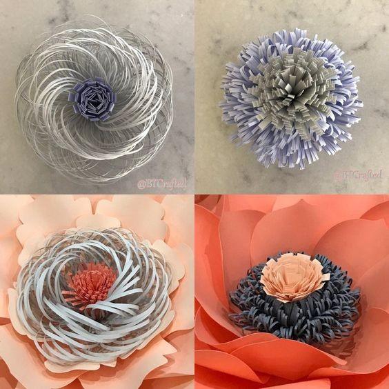 Бумажные цветы с объемными серединками