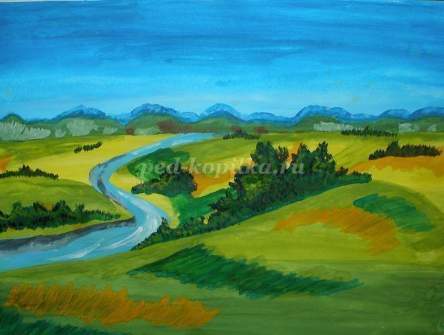 Рисуем гуашью летний пейзаж