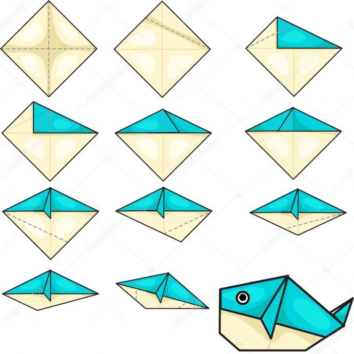 Киты, акулы и дельфины в технике оригами