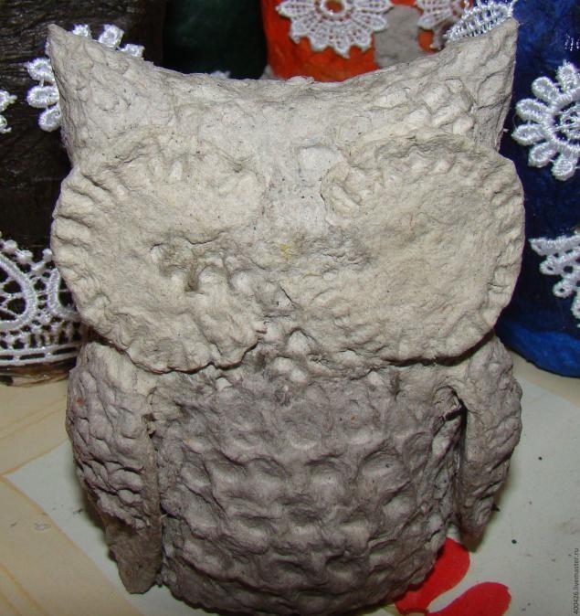 Милые совята из папье-маше