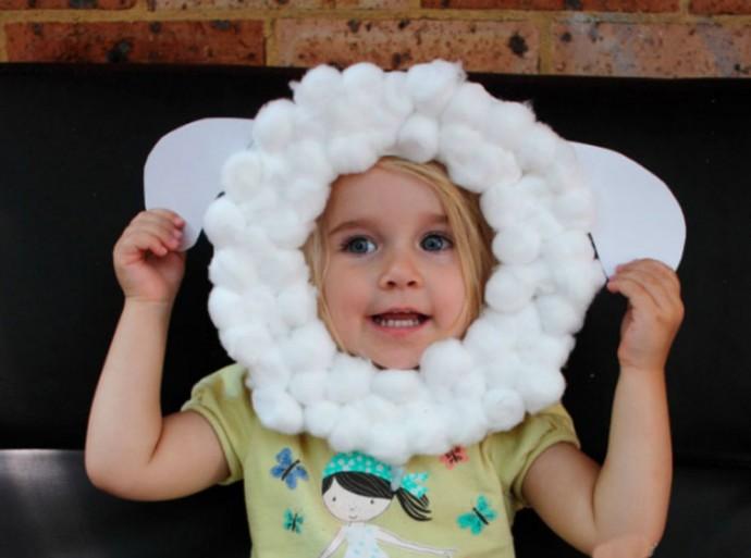 Как ребенку самому себе сделать маску овечки 0