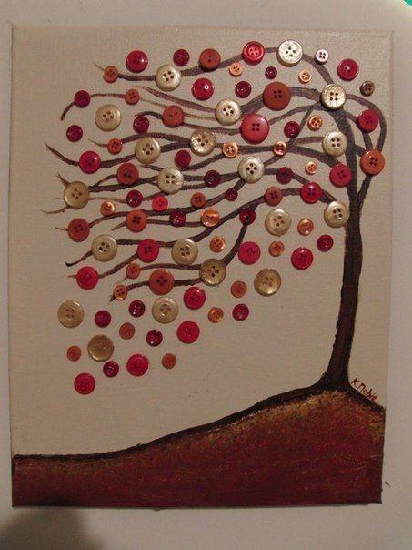 Отличные идеи создания с детьми деревьев при помощи пуговиц