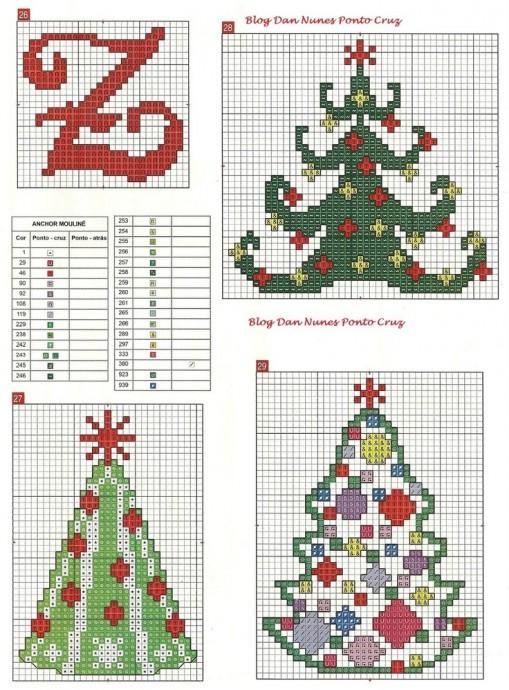 Вышиваем ёлочки: разные схемы 6