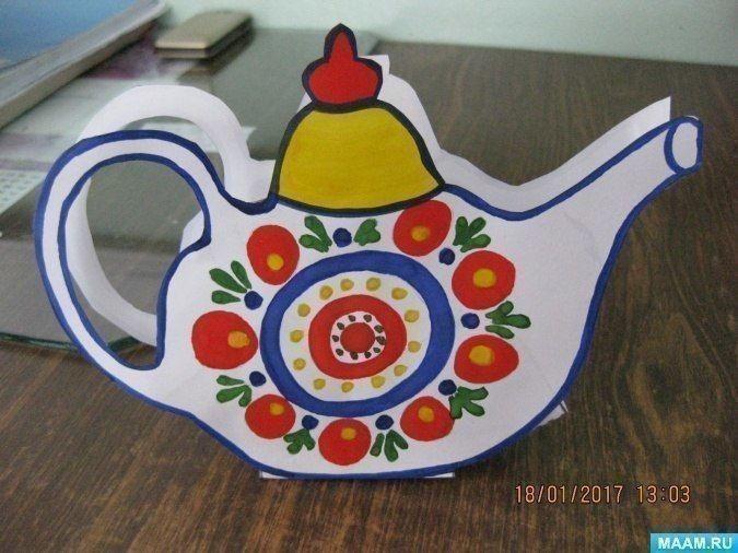 Декоративный расписной бумажный чайничек