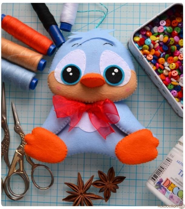 Ёлочные игрушки из фетра: утёнок