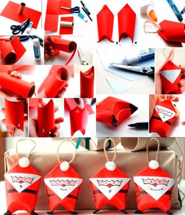 Бумажный Дед Мороз из картонного рулона