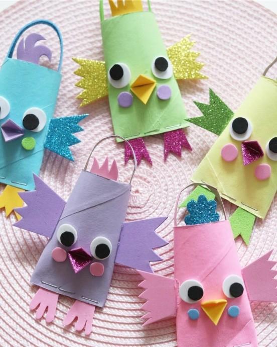 Милые птички из рулончиков и фоамирана