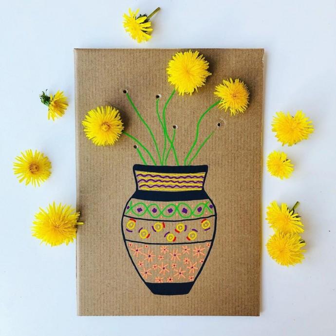 Аппликация-пятиминутка из живых цветов