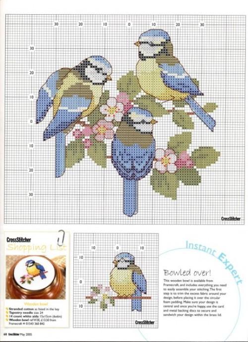 Схемы вышивки для детей: птички 3