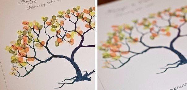 Рисуем листву дерева отпечатками пальцев 1