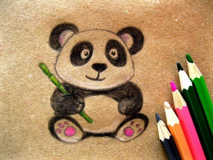 Рисуем панду карандашами