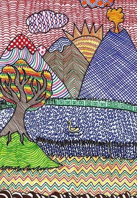 Пейзажи фломастерами