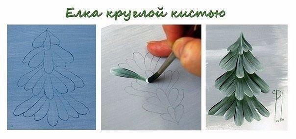 Рисуем ёлочку и сосну в разных техниках