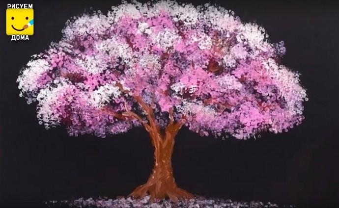 Рисуем с детками дерево ватными палочками