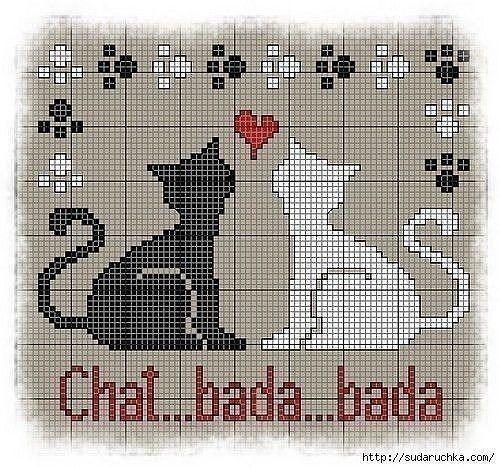 Схемы вышивки котиков