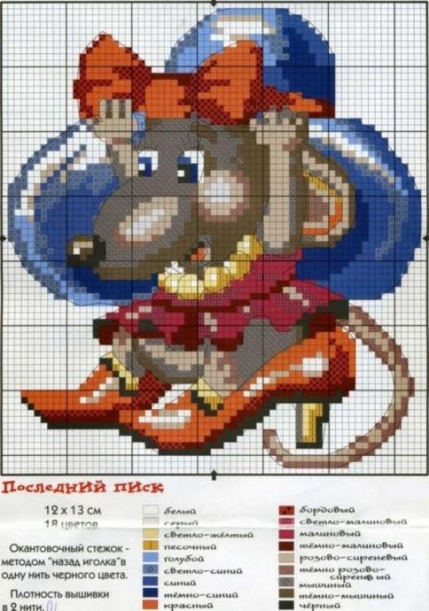 Схемы вышивки крыс крестом 6