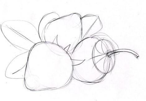 Рисуем с детьми клубнику карандашом