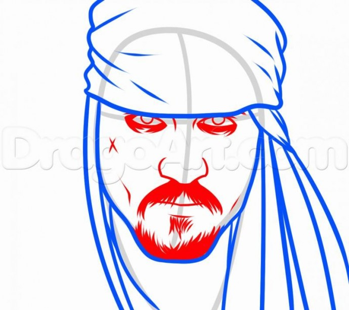 Урок рисования: пират Джек Воробей 4