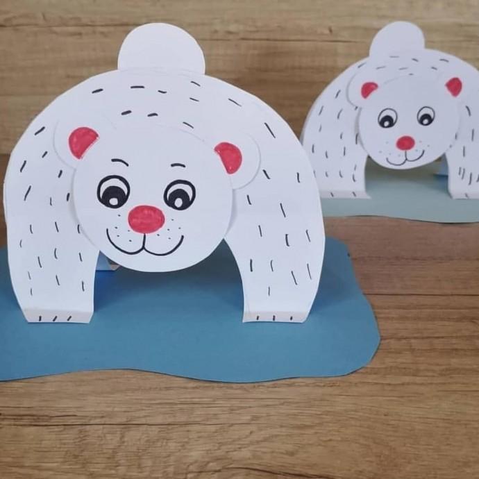 Белый медведь из бумаги