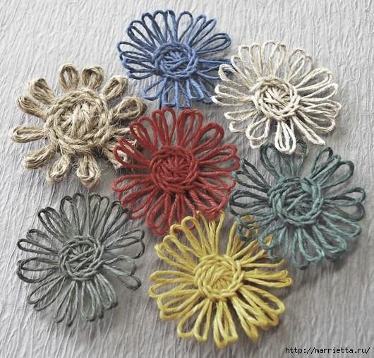 Цветы из шпагата: мастер-класс