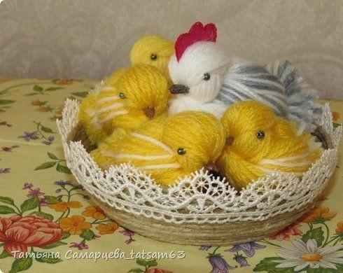 Цыплята из пряжи детскими руками