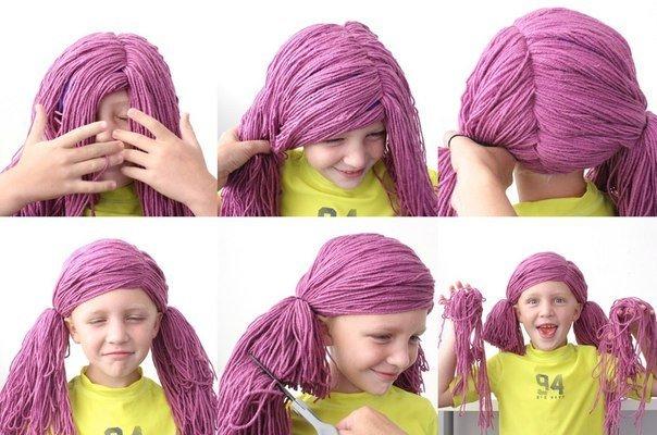 Маскарадные парики из пряжи