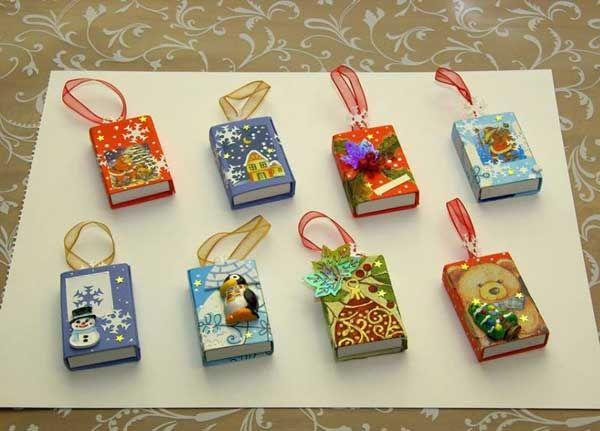Необычные елочные игрушки из спичечных коробков 5