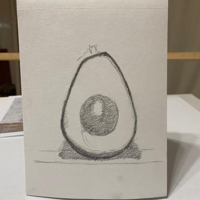Рисуем авокадо с детьми простым карандашом
