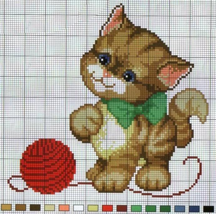Схемы вышивки котиков с детьми 2