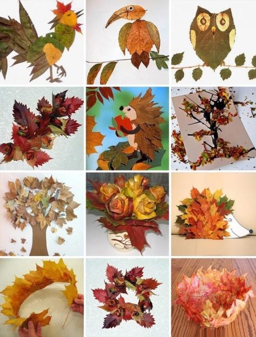 Рисуем листьями