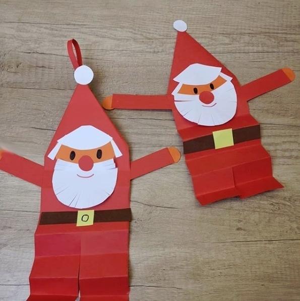 Веселый Дед Мороз из цветной бумаги 0