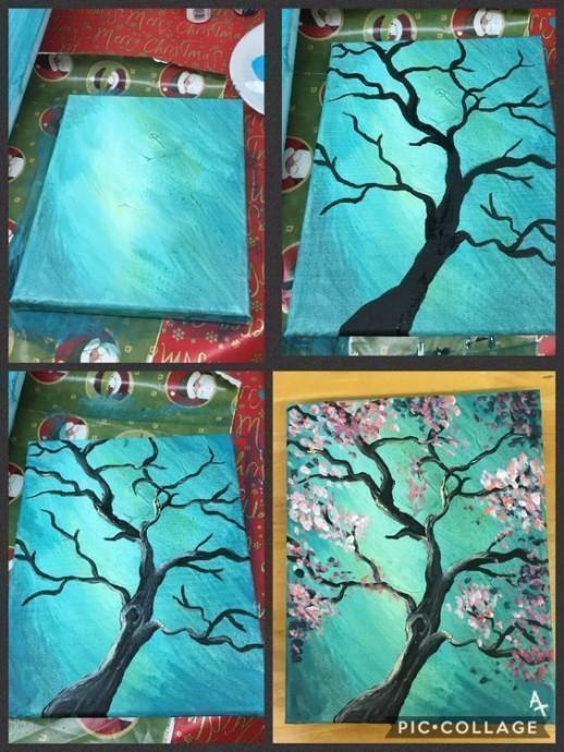 Рисуем с детьми дерево в цвету