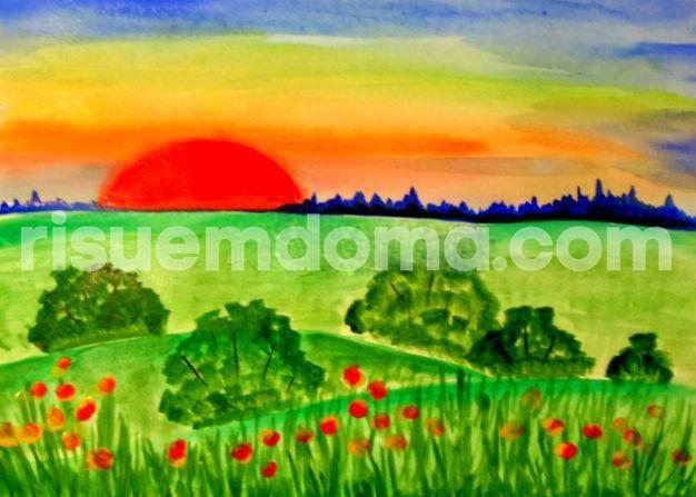 Рисуем с детьми пейзаж акварелью