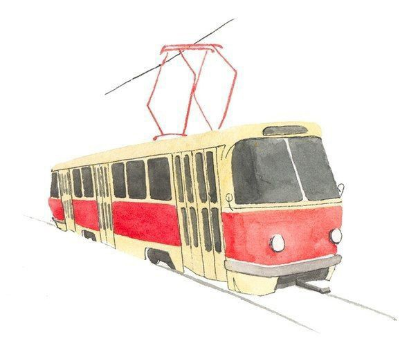 Рисуем с детьми трамвай