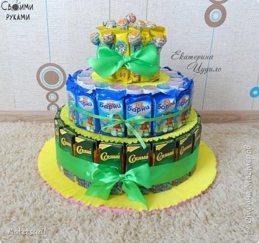 Торт из конфет для детского сада