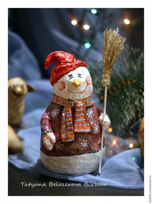 Снеговик в технике ватного папье-маше 5