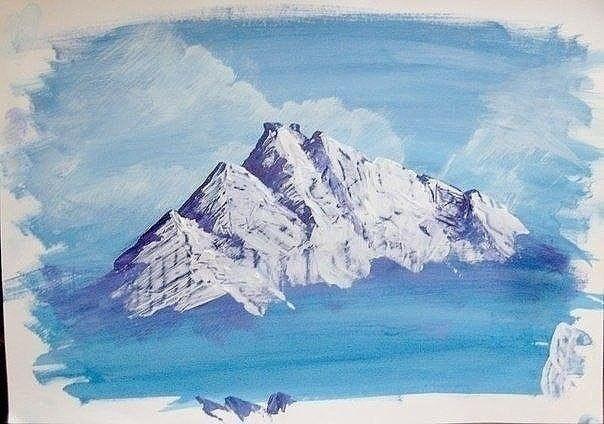 Зимний пейзаж гуашью 3