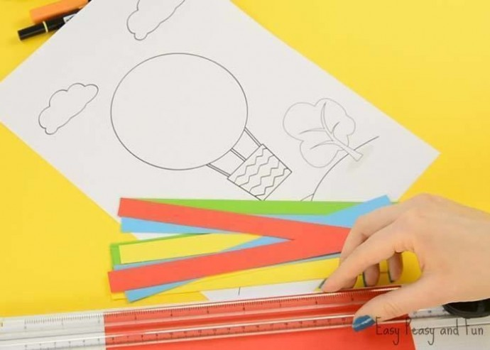Объёмный воздушный шар из цветной бумаги