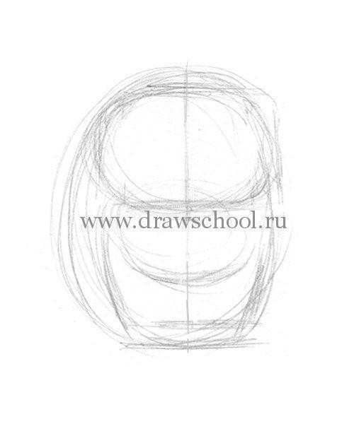 Рисуем простым карандашом милого котёнка 2