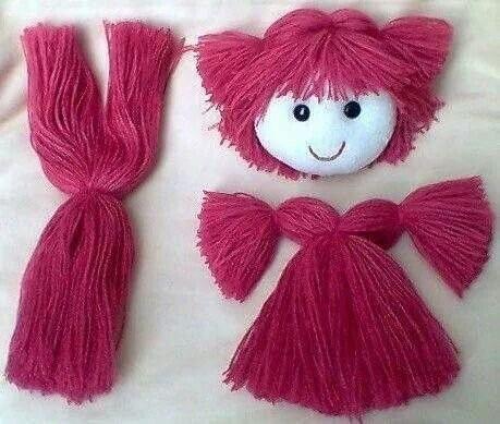 Волосы из пряжи для кукол 2